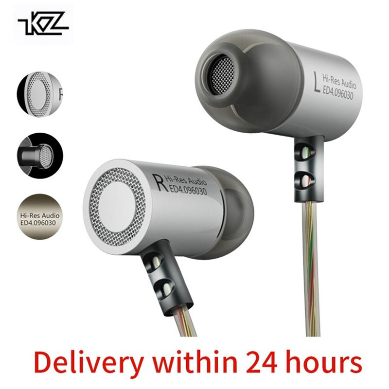KZ ED4 Headphones Bass Ear HIFI Headset DJ Earphone Metal Copper Forging Shocking Anti-Noise Microphone Sound Quality Earphones