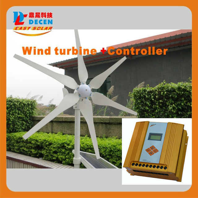 MAYLAR@ 1PC 400W 6 Blades High Efficiency Wind Generator Small Size Low Weight. Low Noise Easy Install +1 PC MPPT Controller