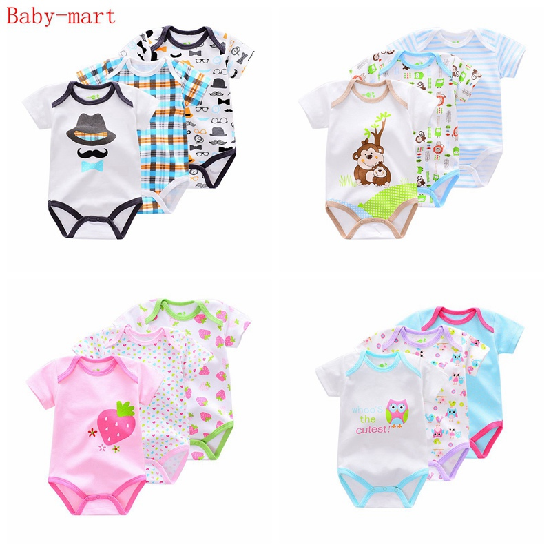 d40777b930e3 3 Pieces lot Brand Summer Baby Boys Romper Animal style Short Sleeve cotton  infant rompers Jumpsuit cotton Baby Newborn Clothes. В избранное. gallery  image