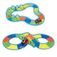 Miracle Glow Racing Track Set Flexible Track Led Light Car Glowing Bifurcation Bridge Tunnel Luminous Track