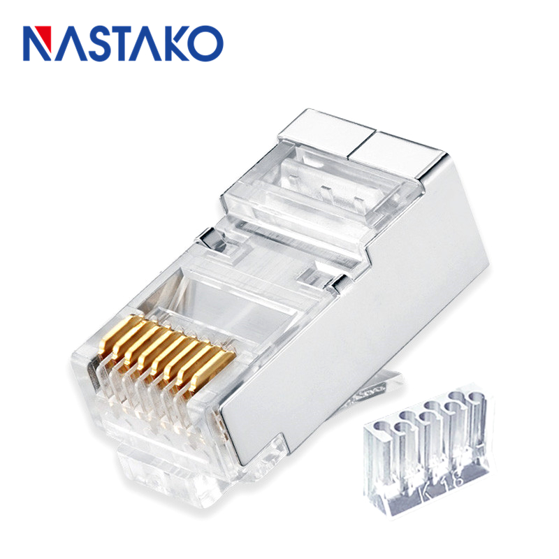 Two-Piece Cat6 Rj45 Connector Cat 6 Network Connectors Rj45 Cat5e Plug Split Type Stp Metal Shielded Modular Crystal Terminals
