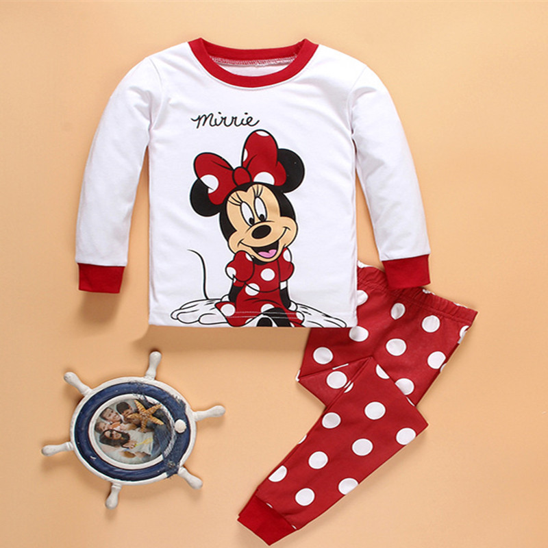 Girls' White Top Pants PHalloween Minnie Mouse Costumes Summer baby cotton short-sleeved cartoon children's Anime pajamas suits