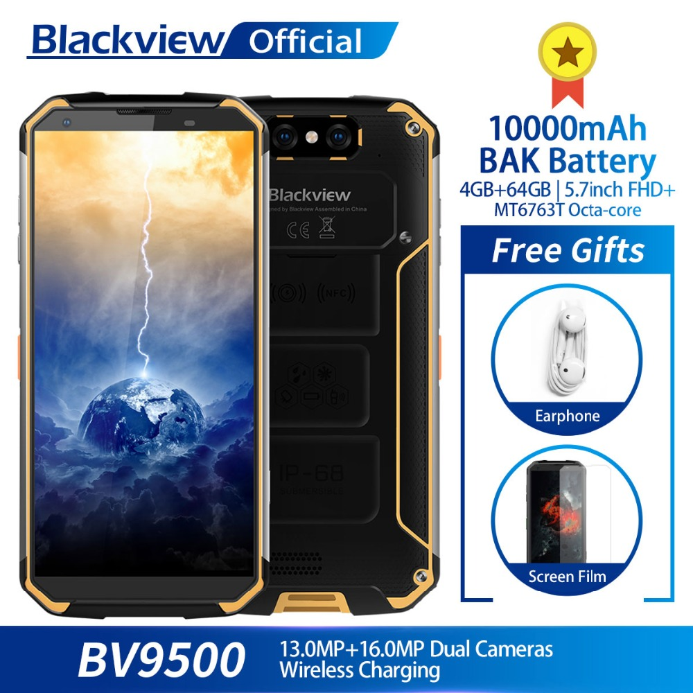 Blackview Bv9500 10000Mah Ip68 Waterproof 5.7Inch Fhd 18:9 Mt6763T Octa Core Smartphone 4Gb + 64Gb 16.0Mp Digicam Android 8.1