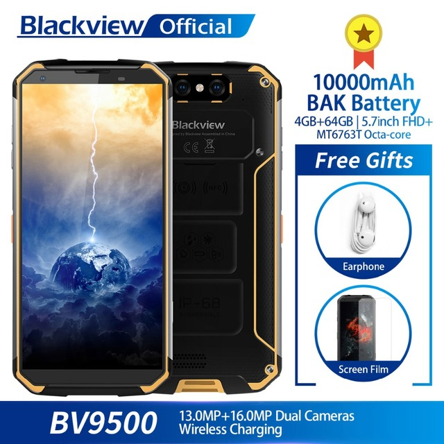 Blackview BV9500 10000mAh IP68 Waterproof 5.7inch FHD 18:9 MT6763T Octa Core Smartphone 4GB + 64GB 16.0MP Camera Android 8.1