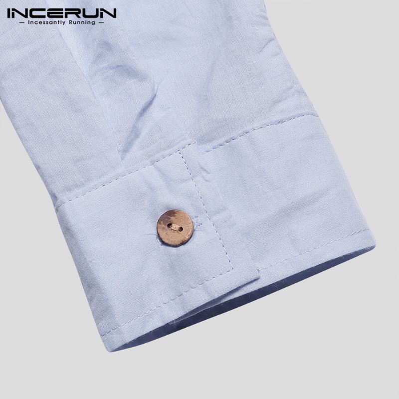 HTB1HIgUabj1gK0jSZFOq6A7GpXa8 - INCERUN Fashion Men Shirt Long Sleeve Cotton Solid Casual Basic Shirt Men Tops
