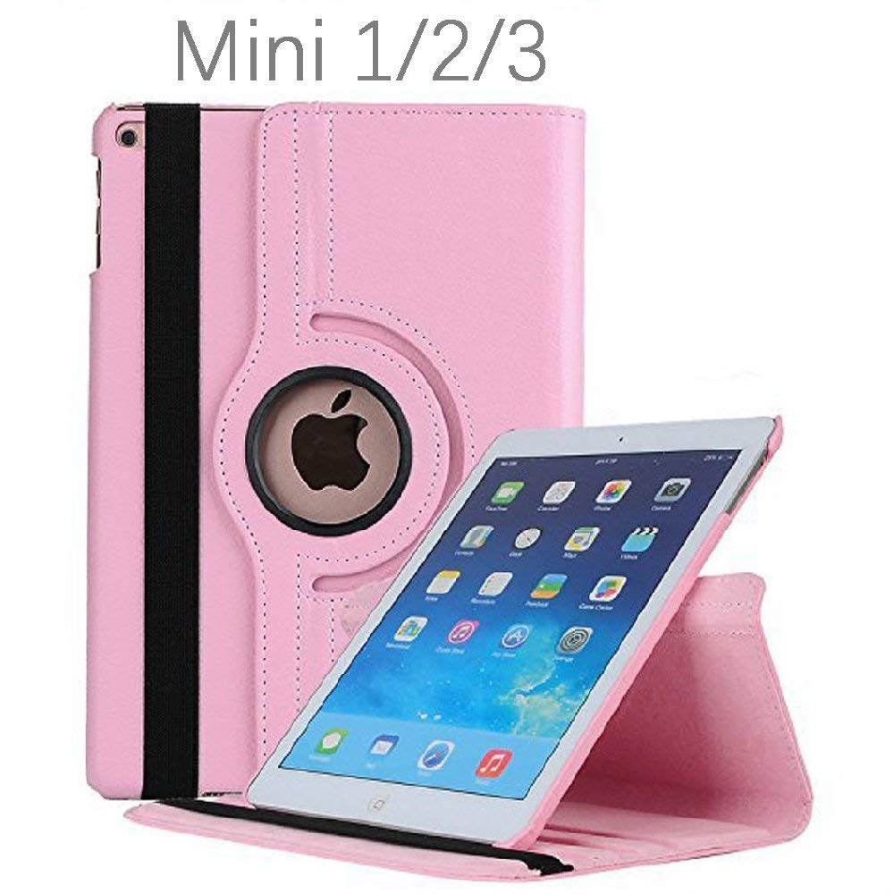 For iPad Mini Case 360 Degrees Rotating Flip PU Leather Case Cover For iPad Mini 2 3 Stand Cases Smart Tablet Cover Sleep Wake new 3d stereo cute hello kitty cat shape stand case for ipad mini 4 case smart tablet pu leather cover 7 9 inch for kids girls