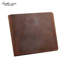 Crazy Horse Leather Men's Wallets With Card Holder Genuine Leather Designer Black Short Vintage Man Purses For Men Carteira 2017