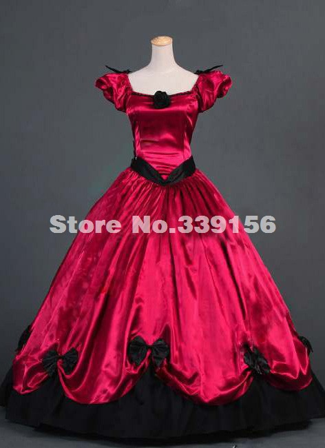 Brand New Noble Red Short Sleeve Renaissance Victorian Dress Medieval Civil War Victorian Ball Gown/Party Dress
