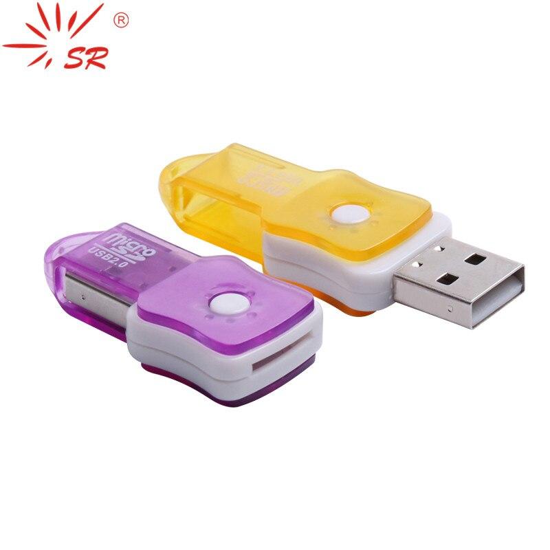 Taşınabilir Dönebilen Keman Tarzı USB Kart Okuyucu Yüksek Hız mikro SD Kart T-Flash Hafıza Kartı kadar 64 GB 3 renkler