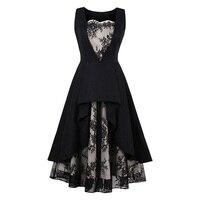 Sisjuly Vintage Dress Lace Summer Black 1950s A Line Patchwork Sleeveless Knee Length Elegant Party Vintage