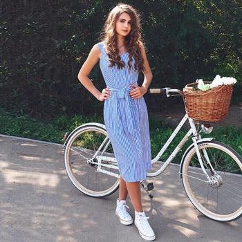 Blue Striped Bandage Dress 2