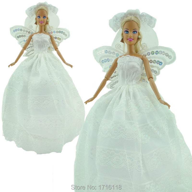 Pure White Wedding ceremony Occasion Gown Princess Robe With Sequin Butterfly Wings Veil Garments For Barbie Doll FR Kurhn 11 12 inch Toys