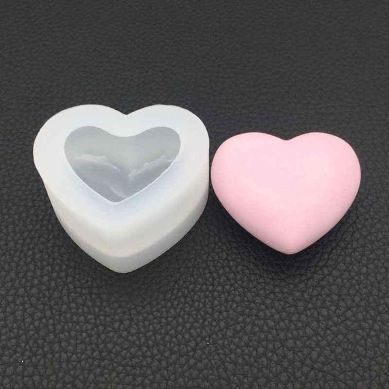 Molde de Silicone Forma de Coração Espelho 3D Suave Artesanato Jóias DIY Fazendo Handmade Decoração Do Bolo Fondant Moldes de Resina Epóxi
