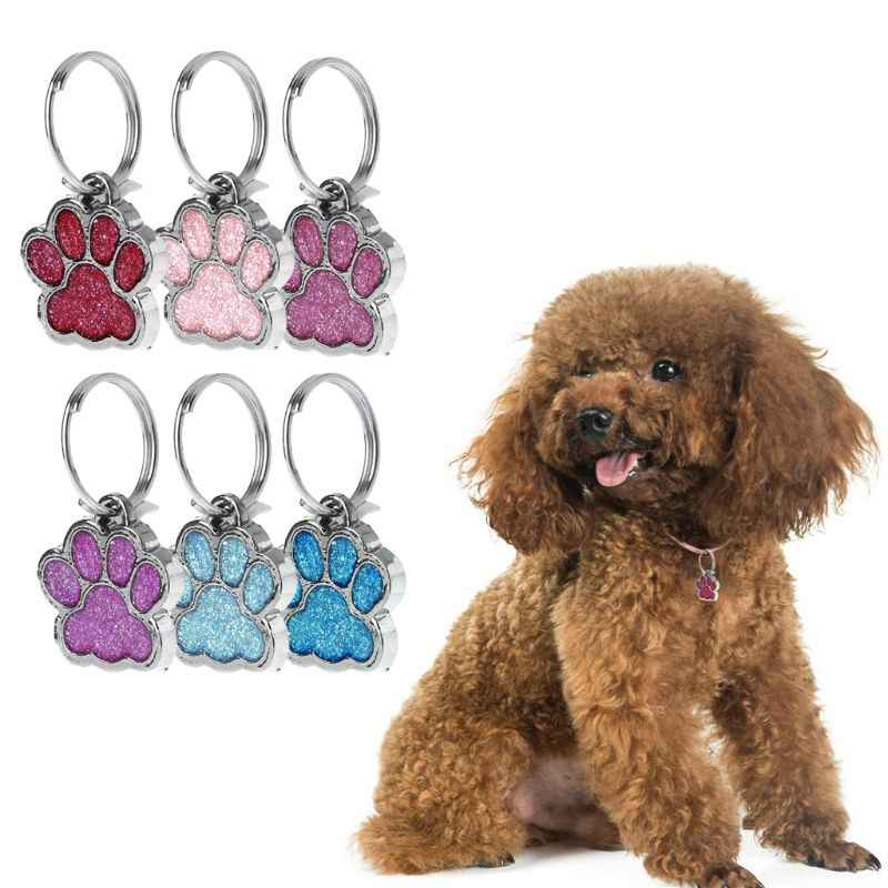 Pet Collar Tag Shiny Glitter Paw Shape Pet Dog Cat ID Tag Keychain With Ring