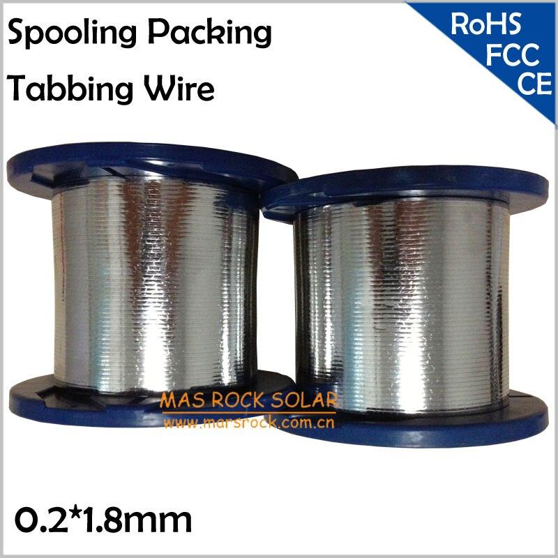 0.2*1.8mm Tabulation Fil pour les Cellules Solaires À Souder, Spoulage Emballage, 1.8mm Largeur 0.2mm Épaisseur, Cellule Solaire PV Ruban Tabulation Fil