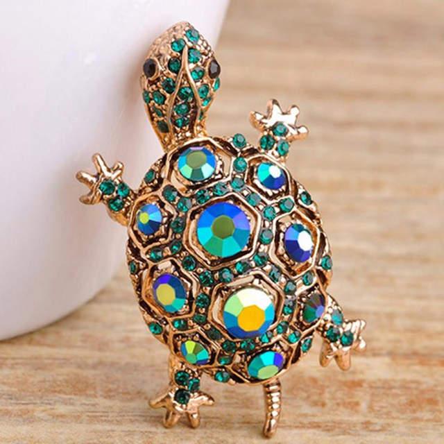 placeholder Blucome Kawaii Cute Rhinestone Turtle Brooch Pin Vintage  Tortoise Brooches Kids Gift Animal Hijab Pins Bags 03b06de2aa37