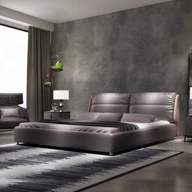 Rama Dymasty Genuine Leather Soft Bed Modern Design Bed Bett Cama