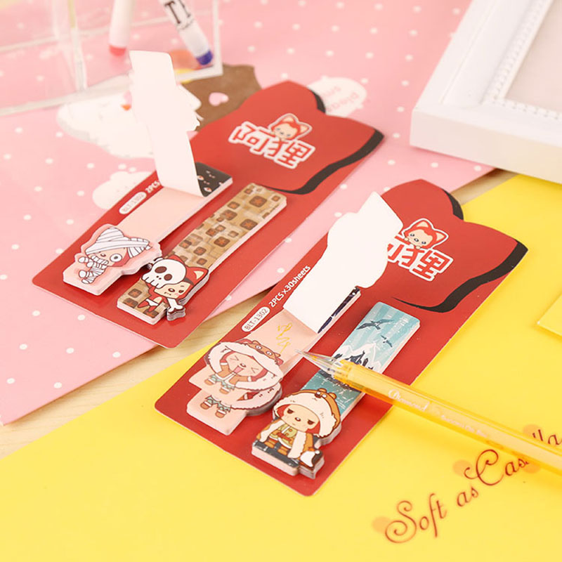 1X kawaii Little Fox notes Sticky Notes Post Memo Pad Korean stationery School Supplies Planner Stickers Paper
