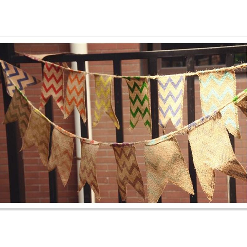 Vintage Juta csík Banner zsákvászon Banner Születésnapi Party, Baby Show, Esküvő, Fénykép Props dekoráció