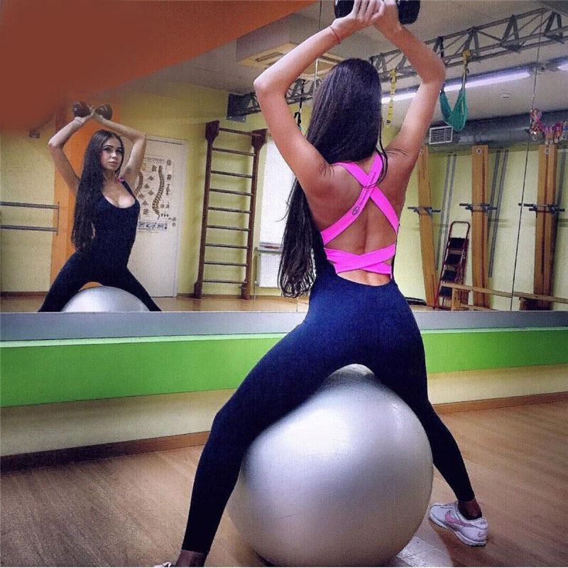 Woman Yoga Wears Gym Fitness Exercising Sportswear Running Workout One Piece Wear Backless Design Dimensional Tailoring SCL033