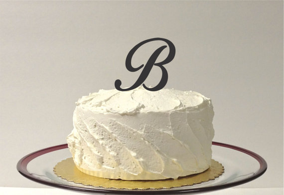 letter b personalized monogram wedding cake topper monogram letter cake topper simple beautiful