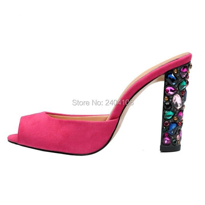 Shooegle Luxury Designer Women Shoes Party Dress High Heels Multicolored Crystals Embellished Sandals Jeweled Block Heel Slides