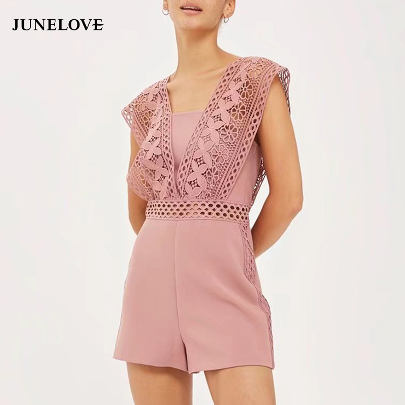 JuneLove summer hollow out chic women playsuit zipper loose waist female jumpsuit sexy lace backless ladies rompers
