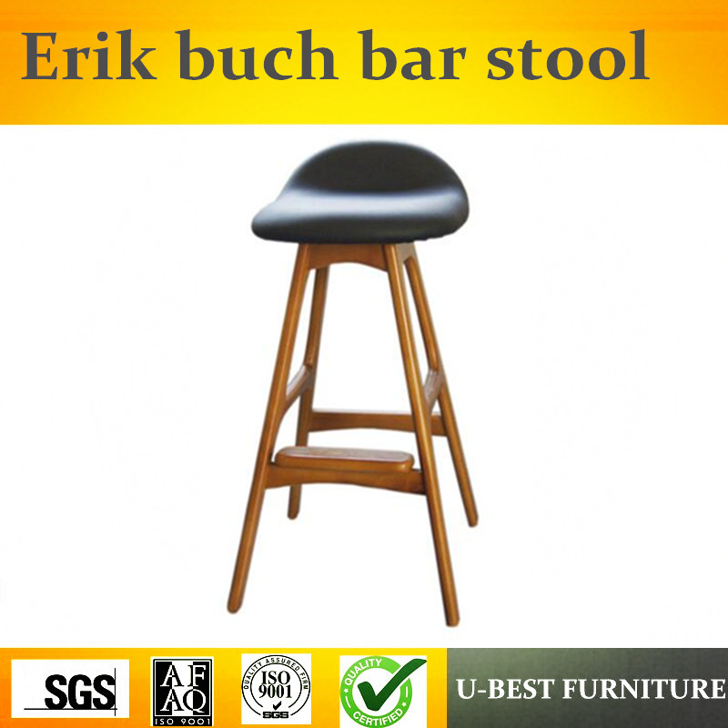Free Shipping U-BEST Popular Unique Nordic DWC Ash Wooden Vintage Bar Stool Erik Buch Bar Stools