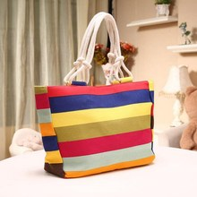 New Candy Striped Prints Beach Tote Bags
