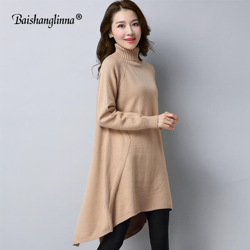 Baishanglinna 2017 Autumn Winter dress women dresses wool knitted clothes cashmere sweater plus size dress casual outwear warm italian light high quality 2017 autumn winter new brand women s wear national knitted wool sweater dress plus size s xxl 4 color