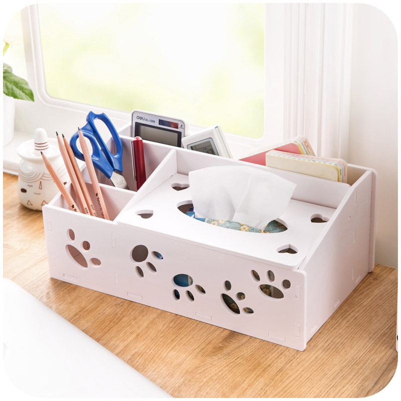 DIY wooden desktop remote control storage box Table Sundries Container Jewelry Makeup Organizer tissue box