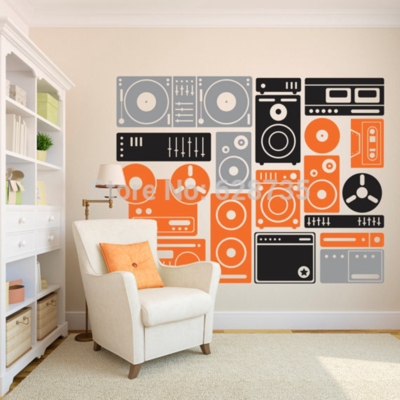 Etonnant Large Size 200x155cm Music Equipment Vinyl Wall Art Stickers Musical Wall  Decals For Home/ Music Studio Decoration In Wall Stickers From Home U0026  Garden On ...
