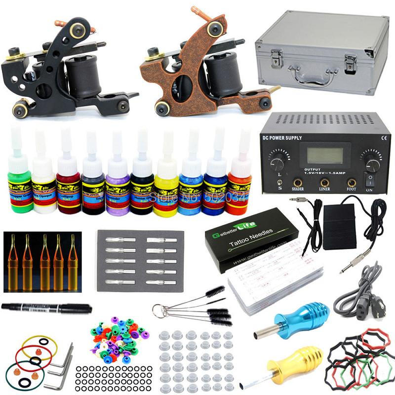 USA Dispatch NEW Complete Tattoo Kit 2 Machine Gun 10 Inks Needles Grips Tips LCD Power Supply Starter Set complete tattoo kit 2 machines gun for starter power supply needles
