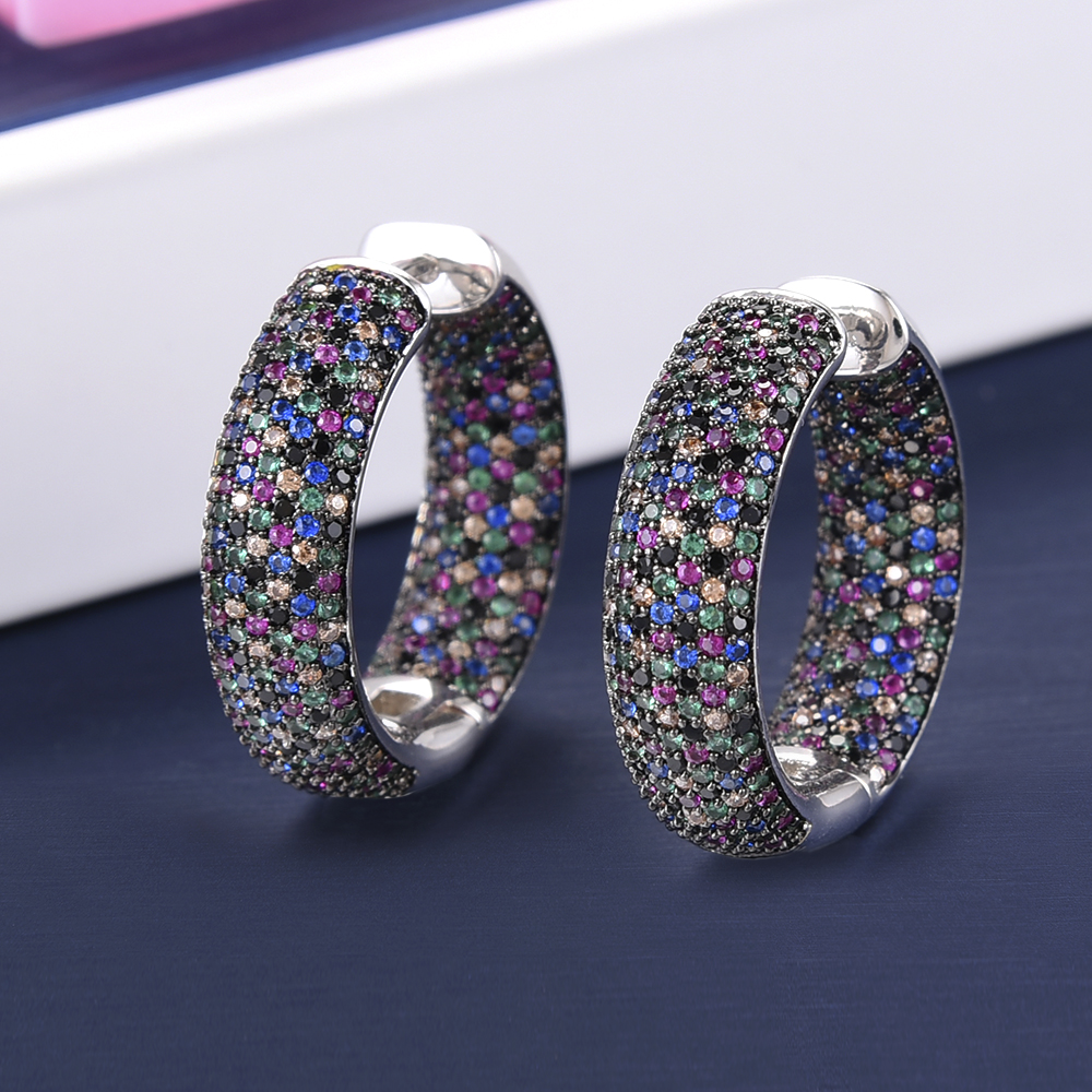 Image 3 - missvikki Chic Exquisite Professional Womens Jewelry Earrings Dense Crystal Multicolor CZ Office Style 3 Colors Top QualityHoop Earrings   -