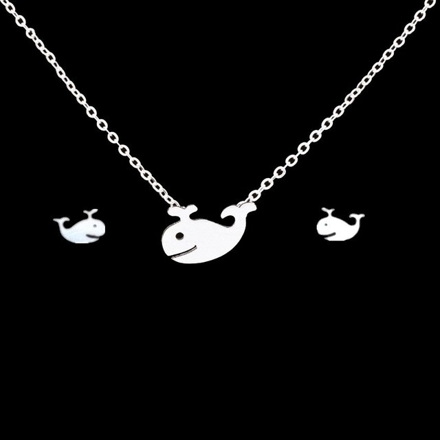Women's Little Whale Necklace and Earrings Set 2