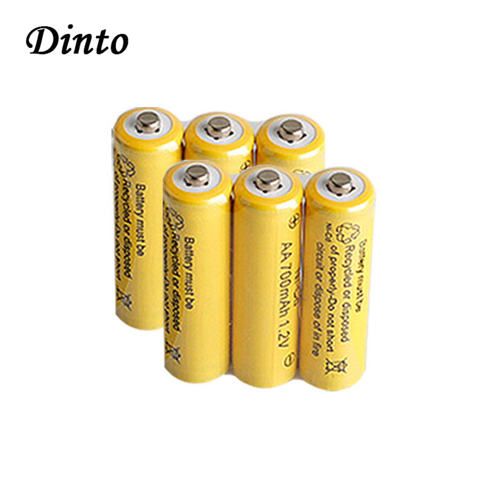 Dinto Real <font><b>1.2V</b></font> 700mAh Ni Cd <font><b>AA</b></font> <font><b>Battery</b></font> Ni-Cd Rechargeable <font><b>NiCd</b></font> <font><b>Batteries</b></font> for Toys Camera Remote Control Flashlight Microphone image