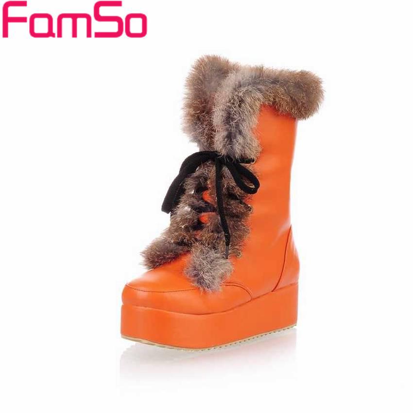 Plus Size34 43 2016 new Fashion font b Women s b font Snow Boots Wedges Platforms