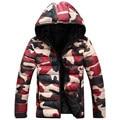 L12 2016 dos homens marca de roupas casaco de inverno com hoodies outwear Homens casaco de inverno quente Casaco Masculino Sólida ocasional Quente Para Baixo jaqueta