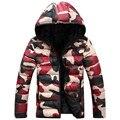 L12 2016 hombres de la marca de ropa de invierno chaqueta con capucha outwear Warm Coat Sólido Hombres Hombres abrigo de invierno casual Caliente Abajo chaqueta