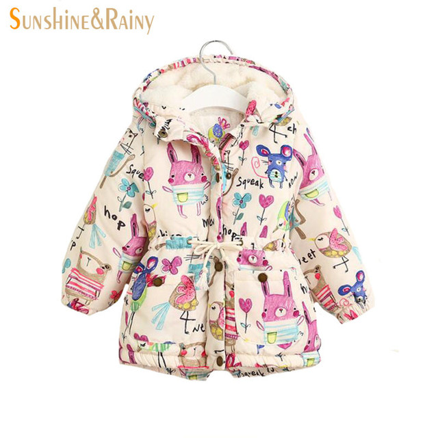 2017 Spring Kids Jackets & Coats Girls Graffiti Parkas Hooded Baby Girl Warm Outerwear Cartoon Animal Children's Jacket