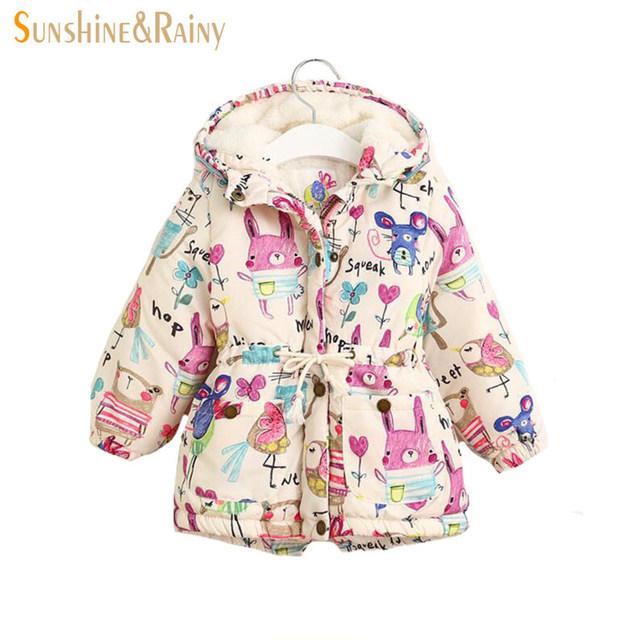Next 2017 primavera kids chaquetas y abrigos girls graffiti parkas chaqueta con capucha niña prendas de vestir exteriores caliente historieta de los niños animales