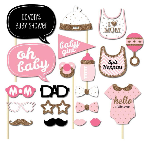 Baby Shower Girl Photo Booth Prop 20pack
