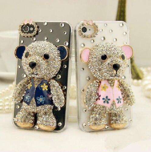 imágenes para Xingduo oso encantador de lujo de bling diamantes rhinestones hard case cubierta para iphone 7 7 plus 6 6 s más 5 5S sí 5c 4 4S