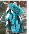 Nuevas Mujeres de Invierno Cálido Forro De Piel De Zorro Naturales Abrigo Desmontable larga Parka Outwear Con el Real de piel de Mapache Recorte Capucha Plus tamaño
