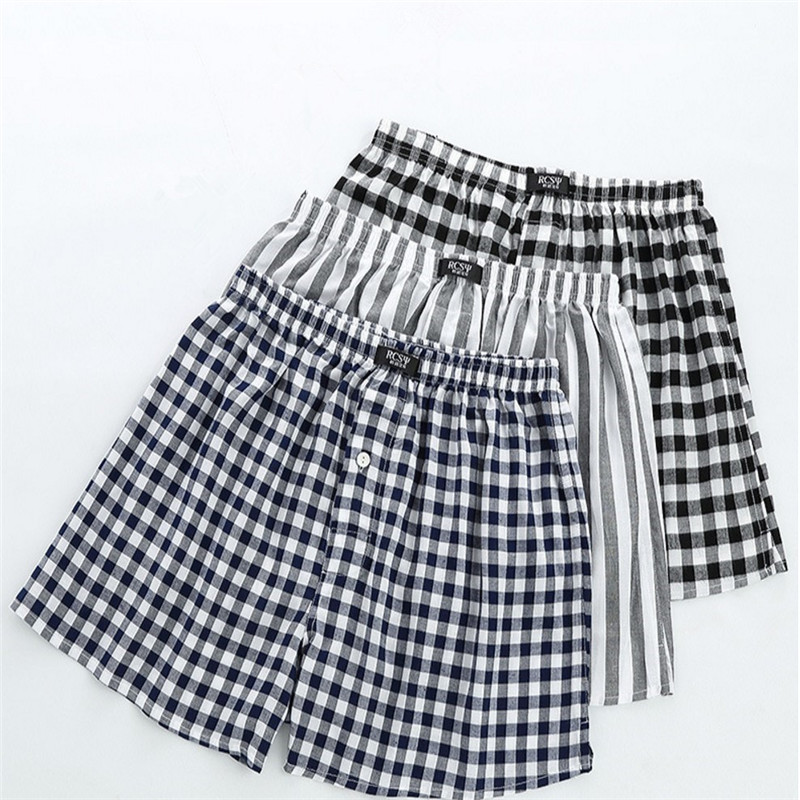 New High Quality Pajamas Men Model Comfortable Classic Soft Sleep Shorts Simple Plaid Stripe Male Loose Sleepwear MA50189