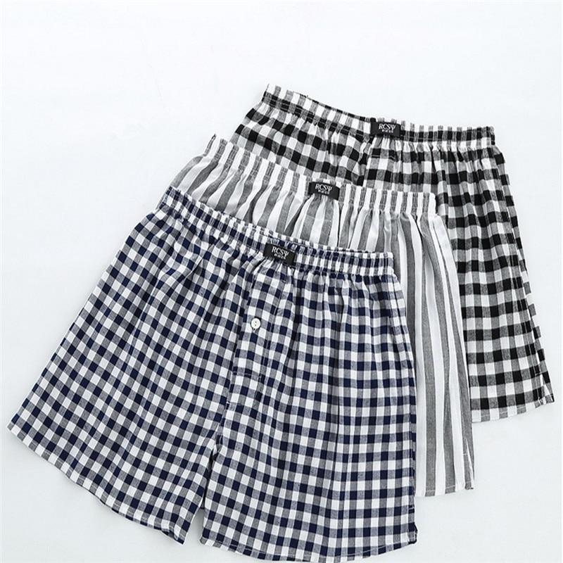 New High Quality Pajamas Men Model Comfortable Classic Soft Sleep Shorts Simple Plaid Stripe Male Loose Sleepwear MA50189
