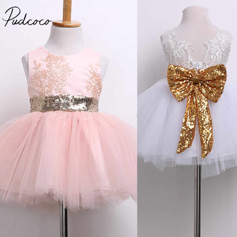 2018 Brand New Newborn Infant Toddler Child Kid Baby Girl Sequins Bowknot Dress Party Dress Christmas Backless Princess Sundress