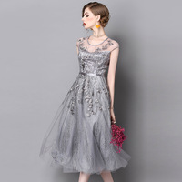 LYFZOUS Gray Embroidery Tulle Dress Women High Waist Solid Color Sleeveless Party Dresses Female High Quality Long Dress