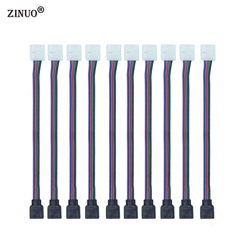 цена на ZINUO 10pcs/Lot 4pin 10MM RGB Led Connector Wire Female Connector Cable For 3528/5050 SMD Non-Waterproof RGB Led Strip Light