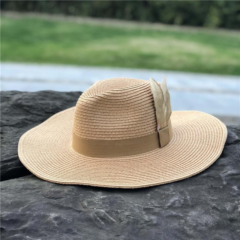 a7710009 Fashion 2018 Summer Sun Hats For Women Big Fashion Design Women Beach Sun  Hat Feather Foldable Brimmed Straw Hat Khaki Color